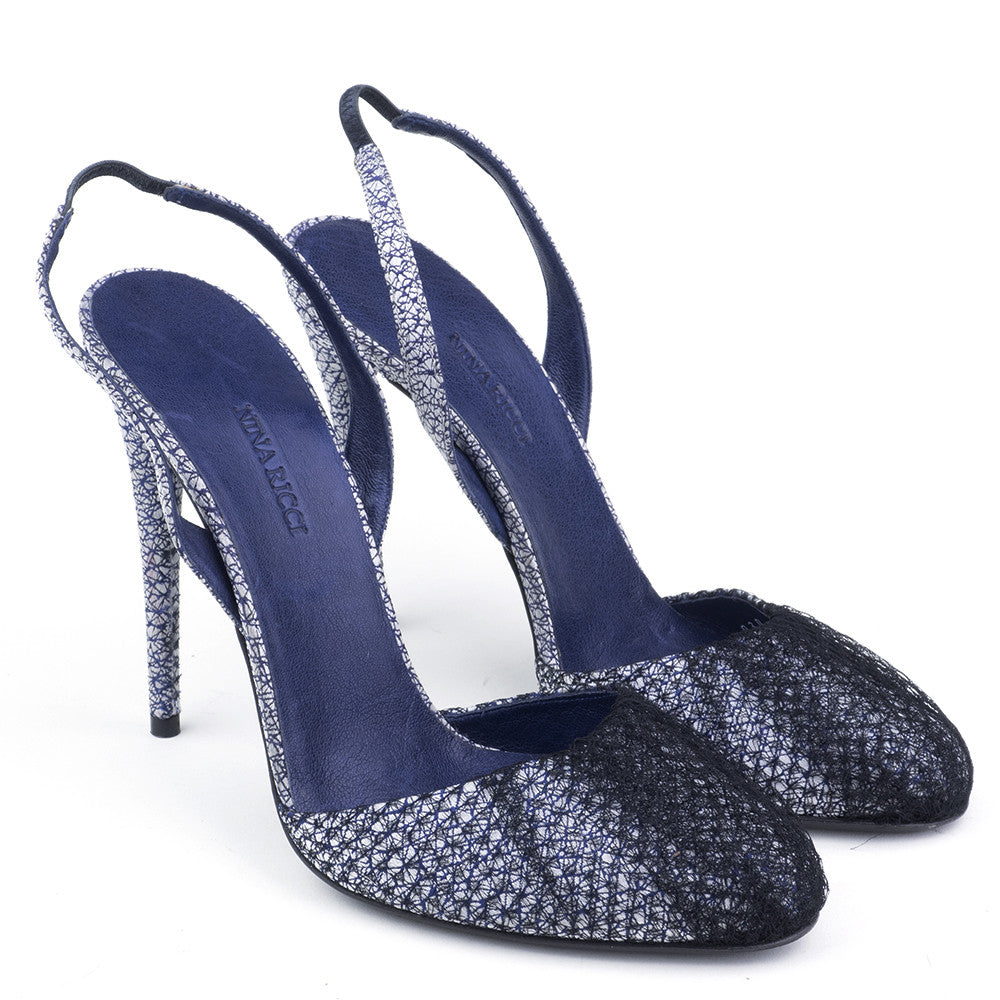 NINA RICCI Blue & Silver Netted Slingbacks, side