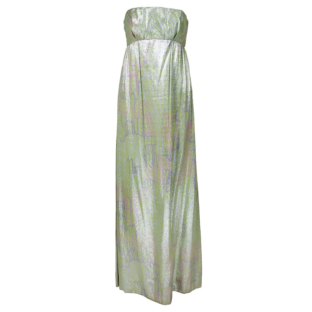 Vintage 60s Iridescent Mint Green Lamé Dress