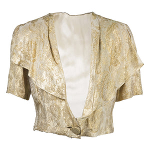 Vintage 30s Gold Metallic Lamé Evening Bolero