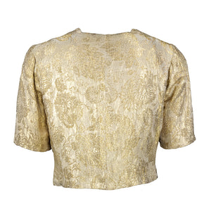Vintage 30s Gold Metallic Lamé Evening Bolero, back