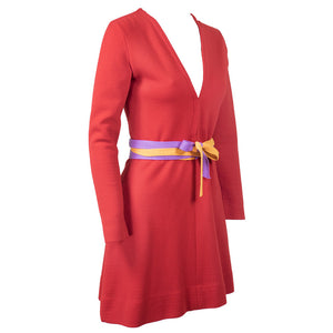Vintage GERNREICH 60s Red Kabuki Knit Dress, side
