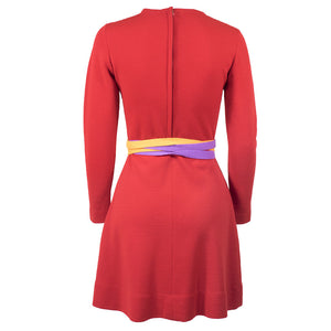 Vintage GERNREICH 60s Red Kabuki Knit Dress, back
