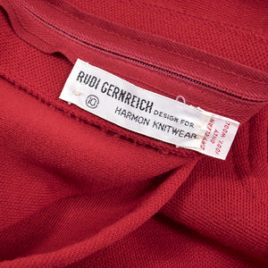 Vintage GERNREICH 60s Red Kabuki Knit Dress, label