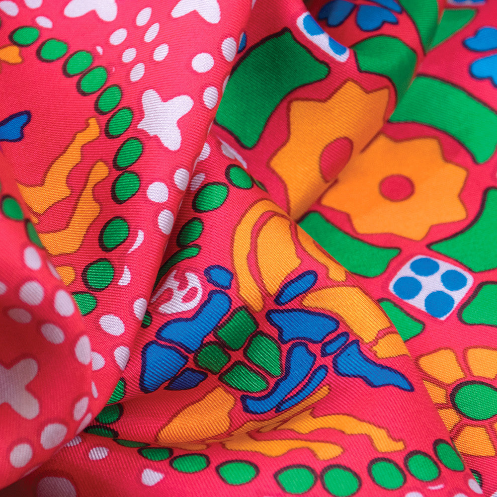 Vintage YSL 70s Ethnic-Print Scarf, close-up