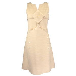 Vintage COURRÈGES 60s Cream Wool Dress