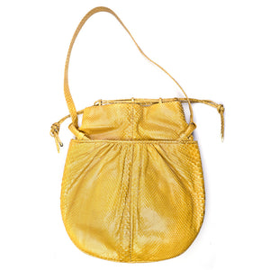 Vintage JUDITH LEIBER 70s Yellow Snakeskin Pouch