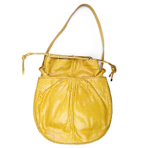 Vintage JUDITH LEIBER 70s Yellow Snakeskin Pouch, back