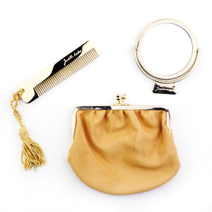 Vintage JUDITH LEIBER 70s Yellow Snakeskin Pouch, accessories