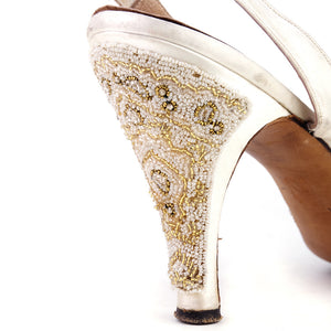 Vintage 50s White Beaded Satin Heels, heel