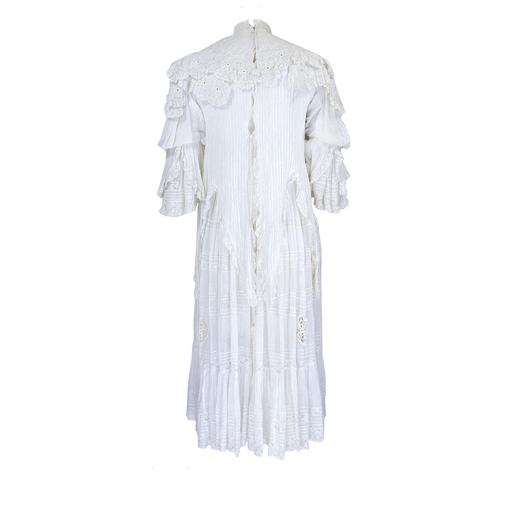 Vintage Edwardian White Pleated Cotton Dress, back