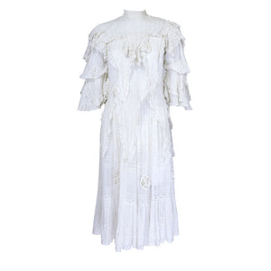 Vintage Edwardian White Pleated Cotton Dress