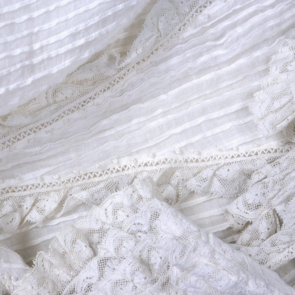 Vintage Edwardian White Pleated Cotton Dress, detail