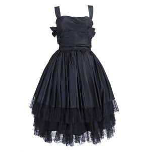 Vintage 50s Black Taffeta Cocktail Dress