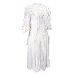 Vintage Edwardian White Pleated Cotton Dress, side