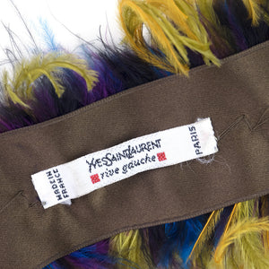 Vintage YSL 90s Feather Silk Ribbon, label