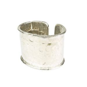 Vintage TRIGERE 70s Silver Hammered Cuff, side