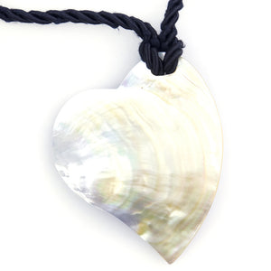 DOLCE & GABBANA 90s Rope Necklace with Giant Mother of Pearl Heart Pendant 2 of 4