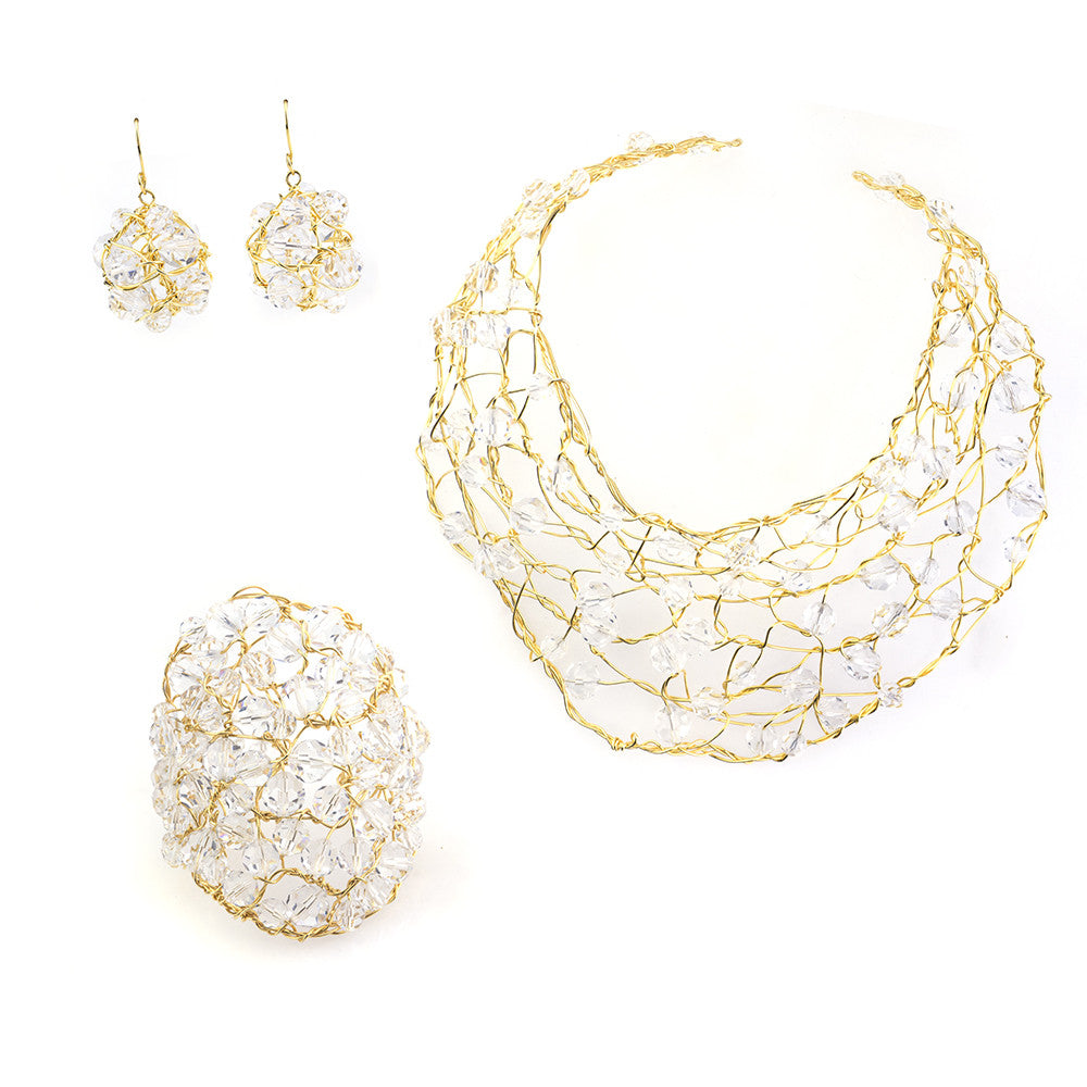 Vintage 90s Crystal & Gold Wire Set