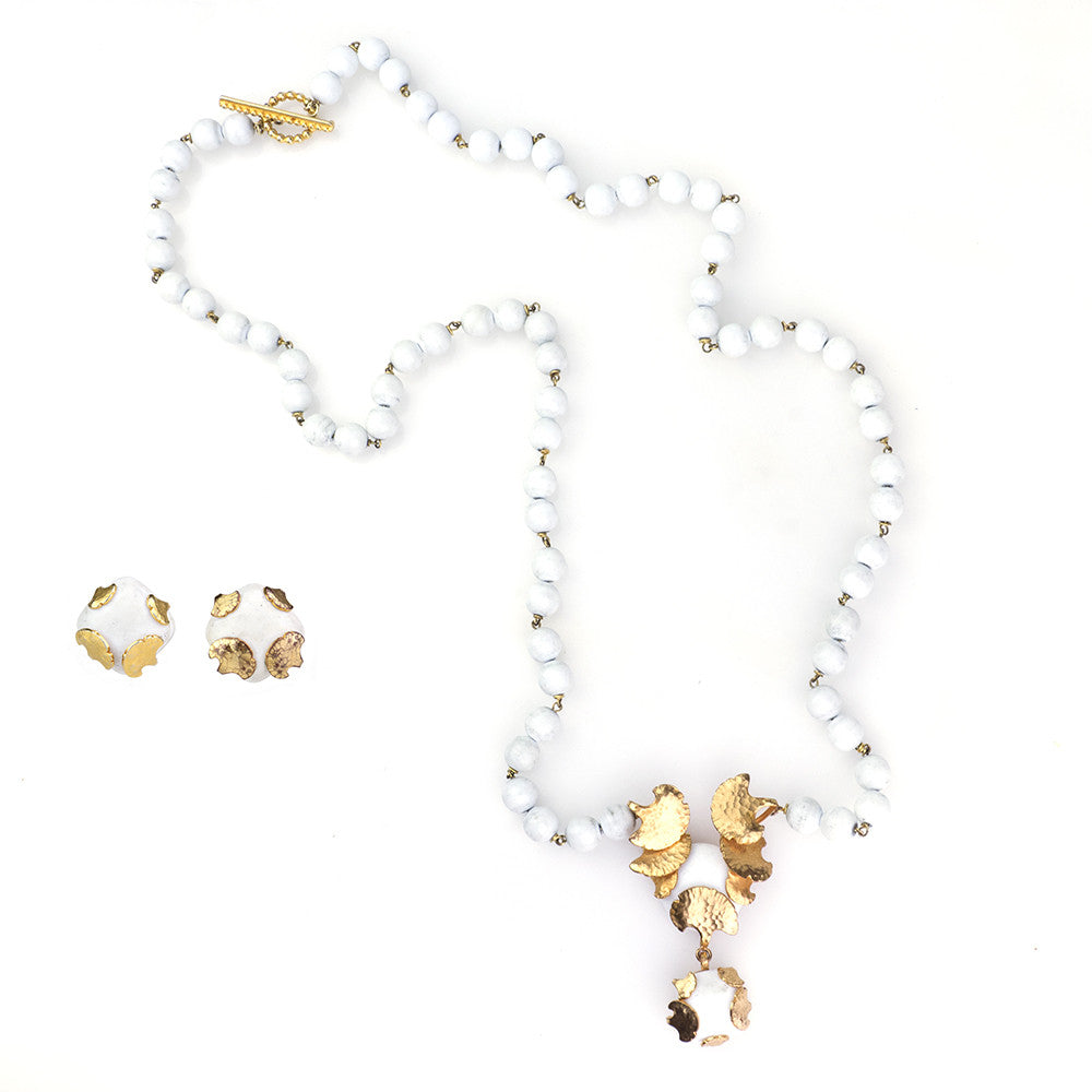 Vintage AURIENTIS 80s White & Bronze Jewelry Set