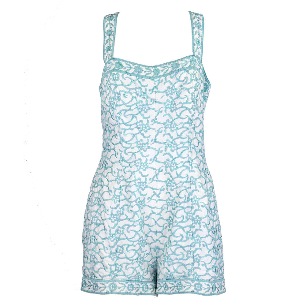 Vintage 50s White & Blue Playsuit