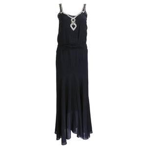Vintage 30s Black Chiffon & Rhinestone Dress