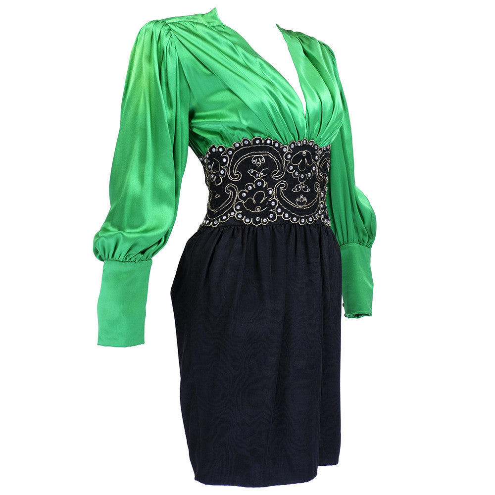 Vintage LANVIN 90s Green & Black Cocktail Dress, side