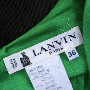 Vintage LANVIN 90s Green & Black Cocktail Dress