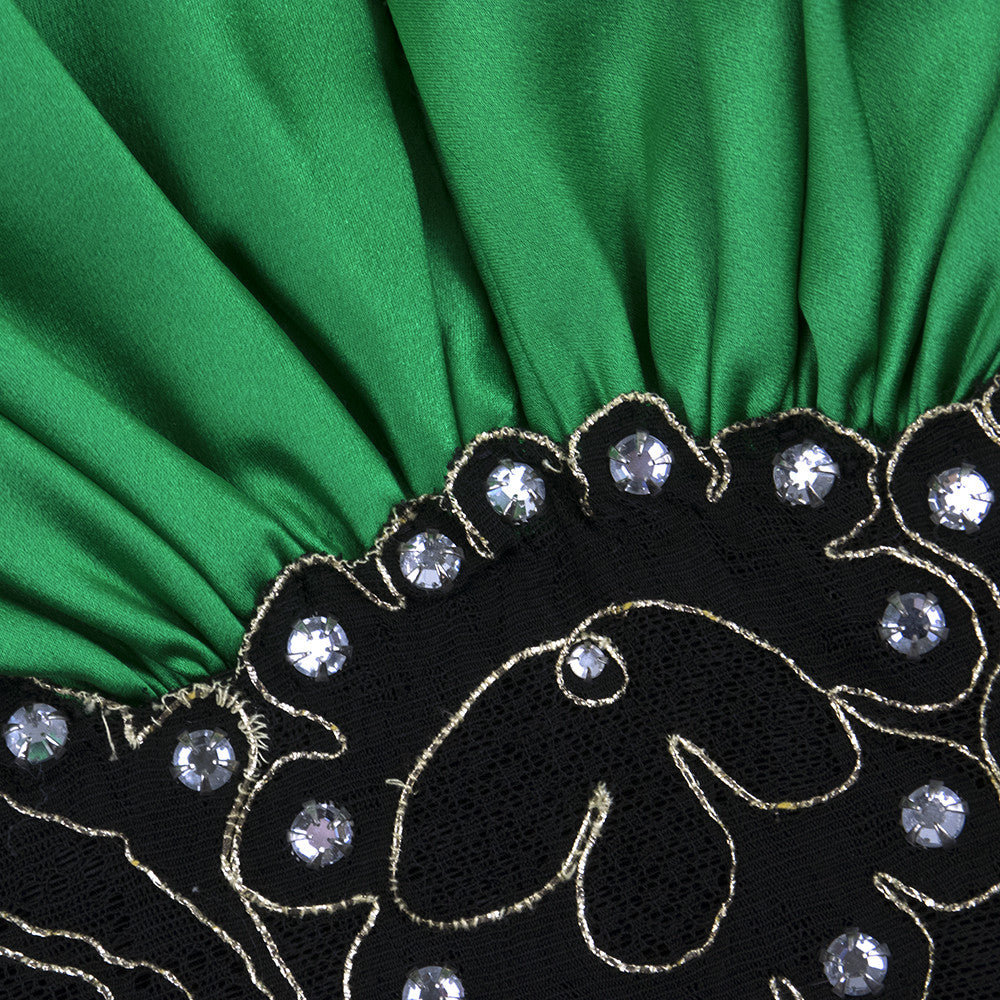 Vintage LANVIN 90s Green & Black Cocktail Dress, detail