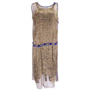 Vintage 20s Gold Lamé Lace Cocktail Dress