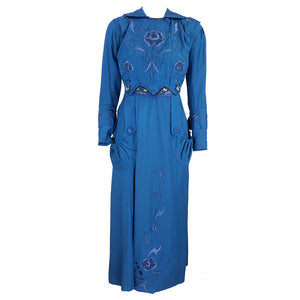 Vintage 1910s Teal Day Dress