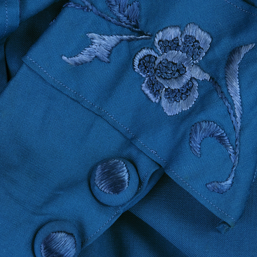 Vintage 1910s Teal Day Dress, detail