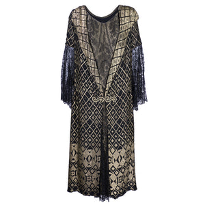 Vintage 20s Gold & Black Chantilly Lace Dress