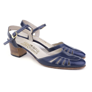 Vintage FERRAGAMO 70s Navy Blue Sandals