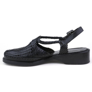 Vintage KELIAN 80s Black Woven Sandals, side
