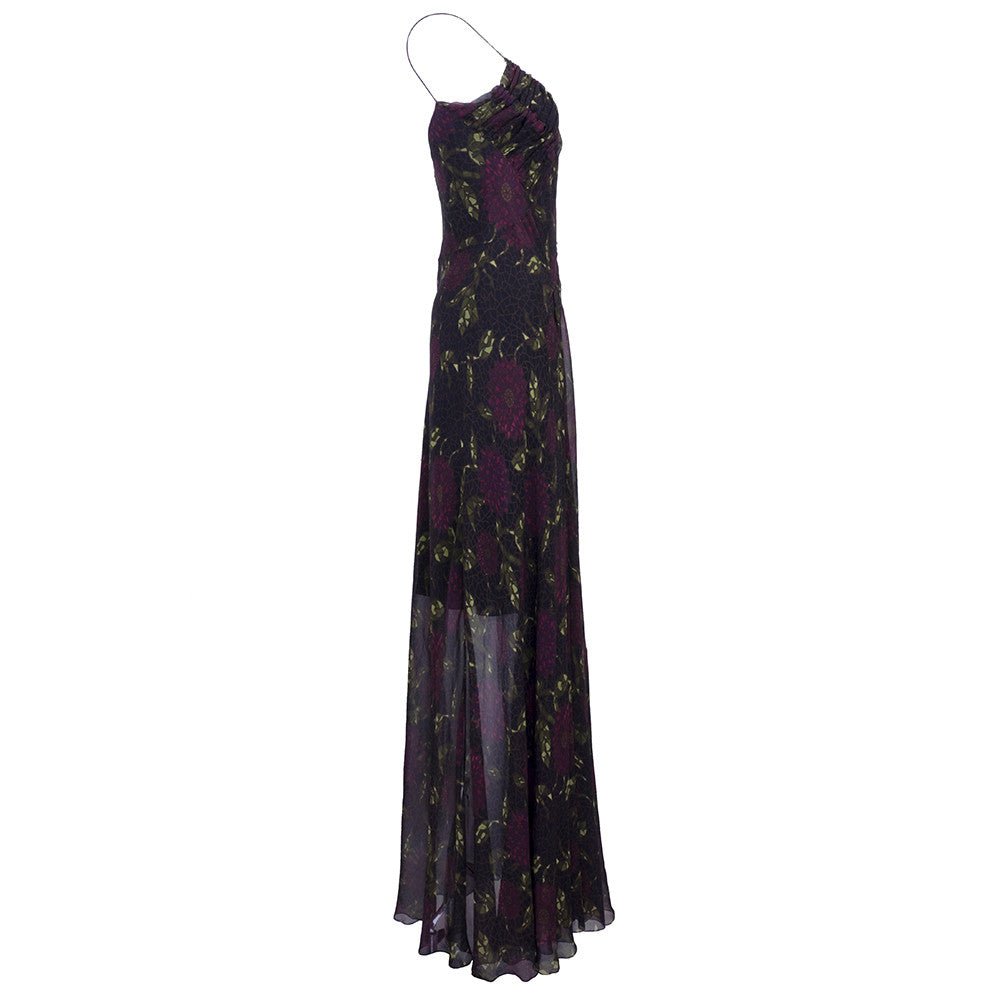 Vintage GALLIANO 90s Silk Chiffon Gown, side