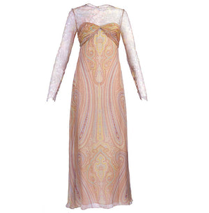Vintage BLASS 90s Lace & Chiffon Paisley Gown, front