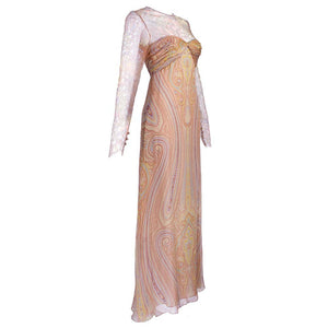 Vintage BLASS 90s Lace & Chiffon Paisley Gown