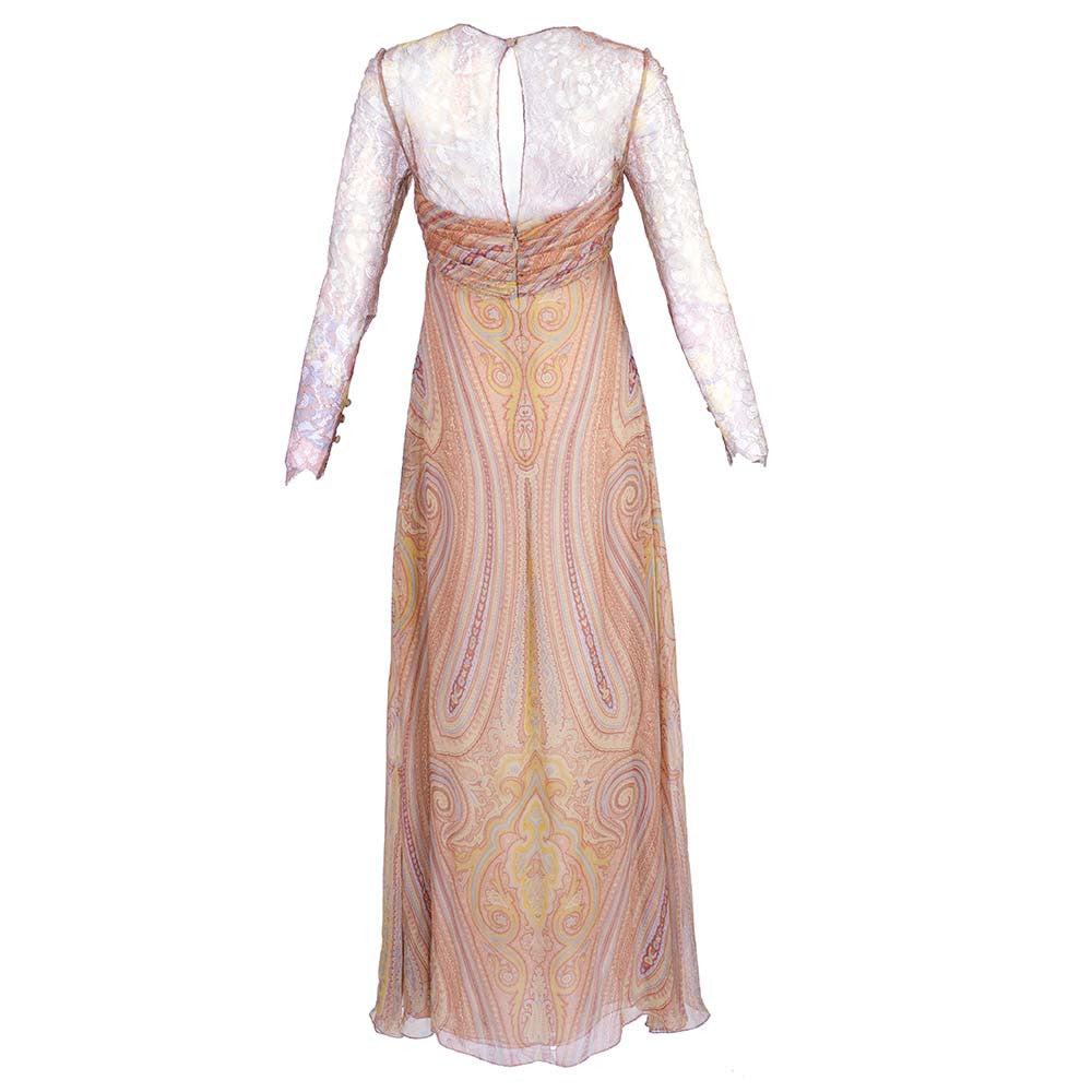 Vintage BLASS 90s Lace & Chiffon Paisley Gown, back