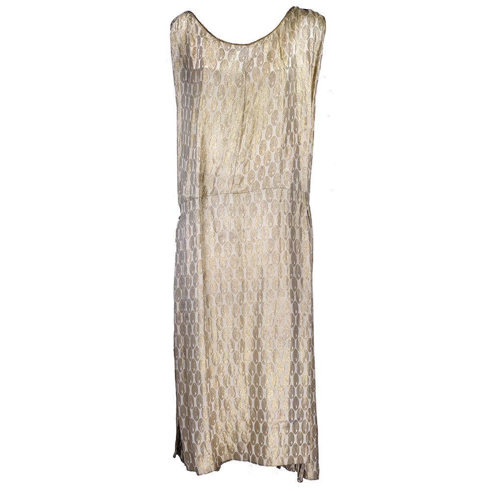 Vintage 20s Gold Lame Wrap Dress