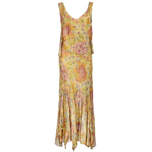 Vintage 30s Gold Lame Bias-Cut Gown