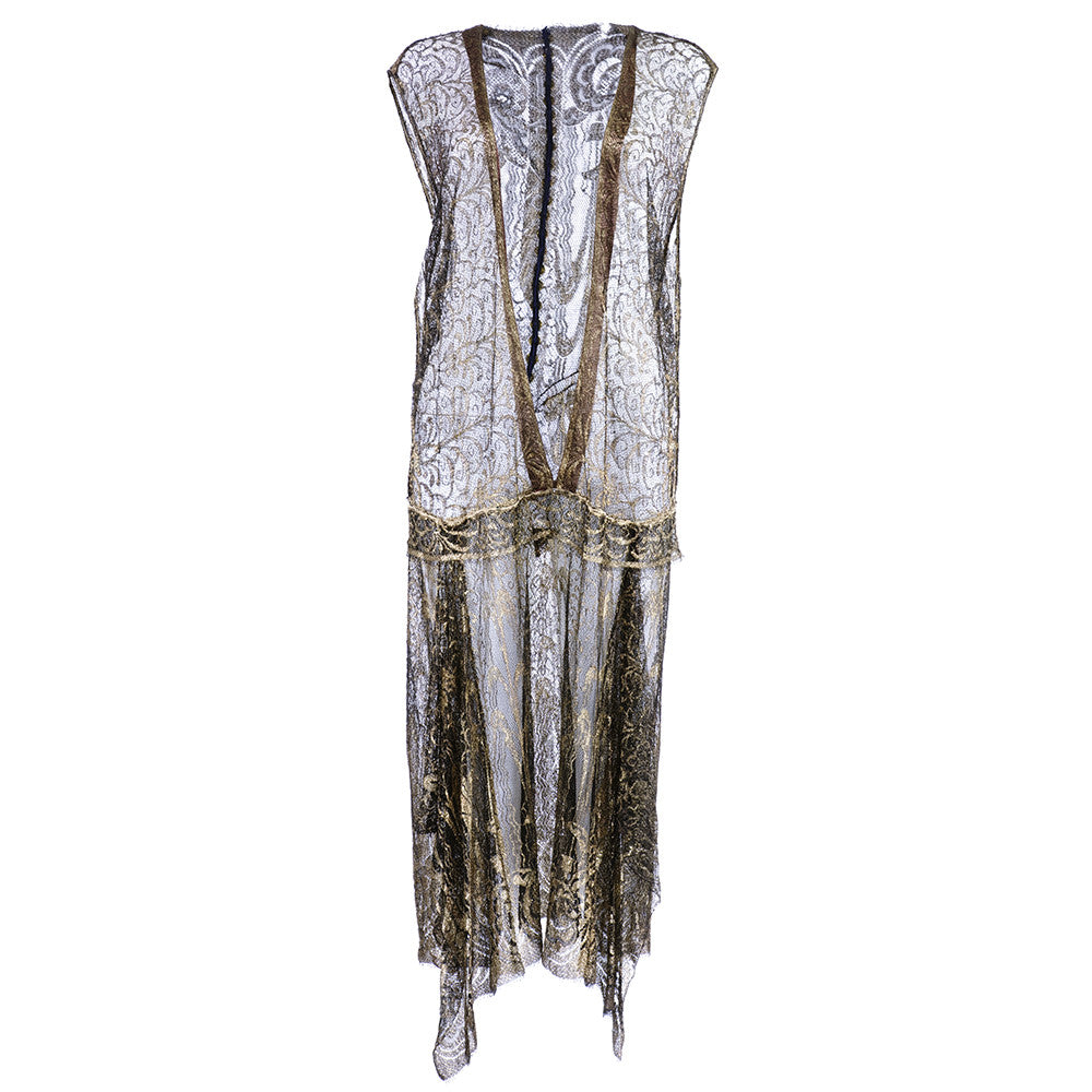 Vintage 20s Gold Lame Lace Dress