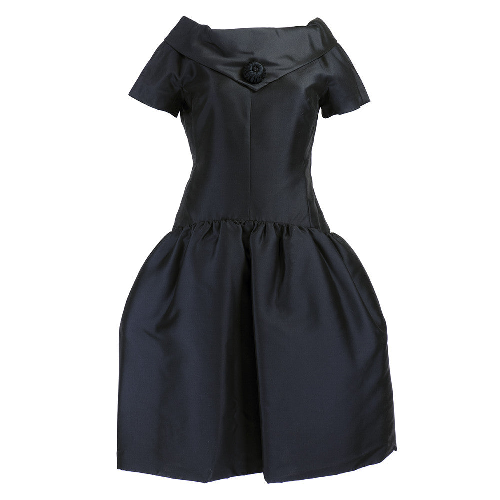 Vintage DIOR 50s Black Drop-Waist Dress