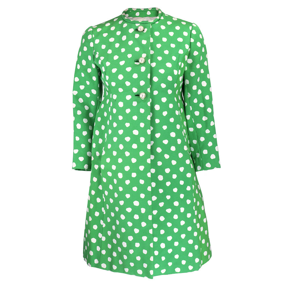 Vintage 60s Green & White Polka-Dot Coat