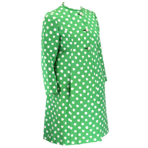 Vintage 60s Green & White Polka-Dot Coat, side