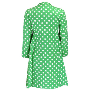 Vintage 60s Green & White Polka-Dot Coat, back