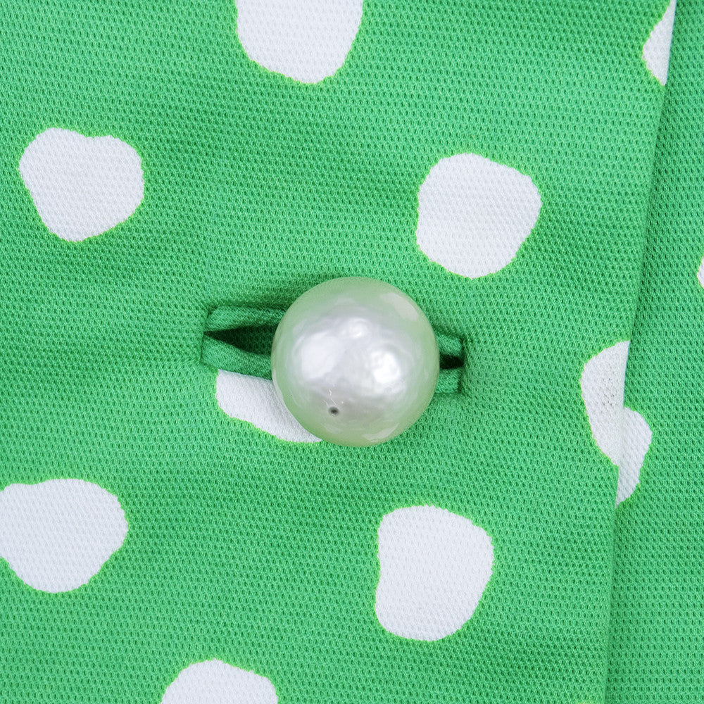 Vintage 60s Green & White Polka-Dot Coat, button