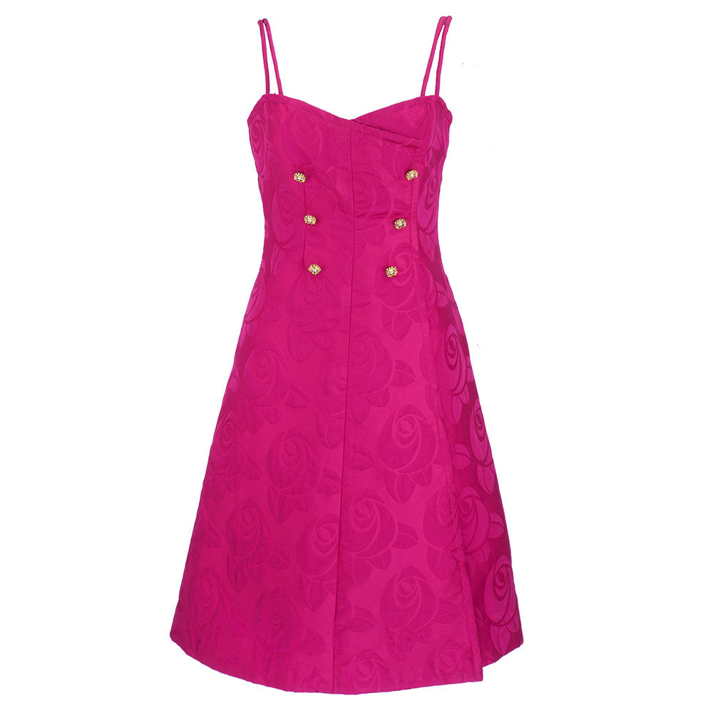 CHANEL Couture Mid-Century Fuschia Ensemble, dress front