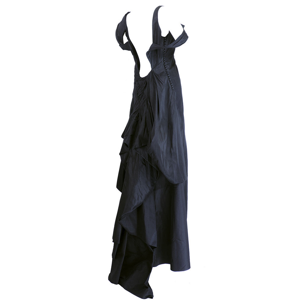 GALLIANO Black Silk Dramatic Gown
