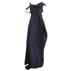 GALLIANO Black Silk Dramatic Gown, front