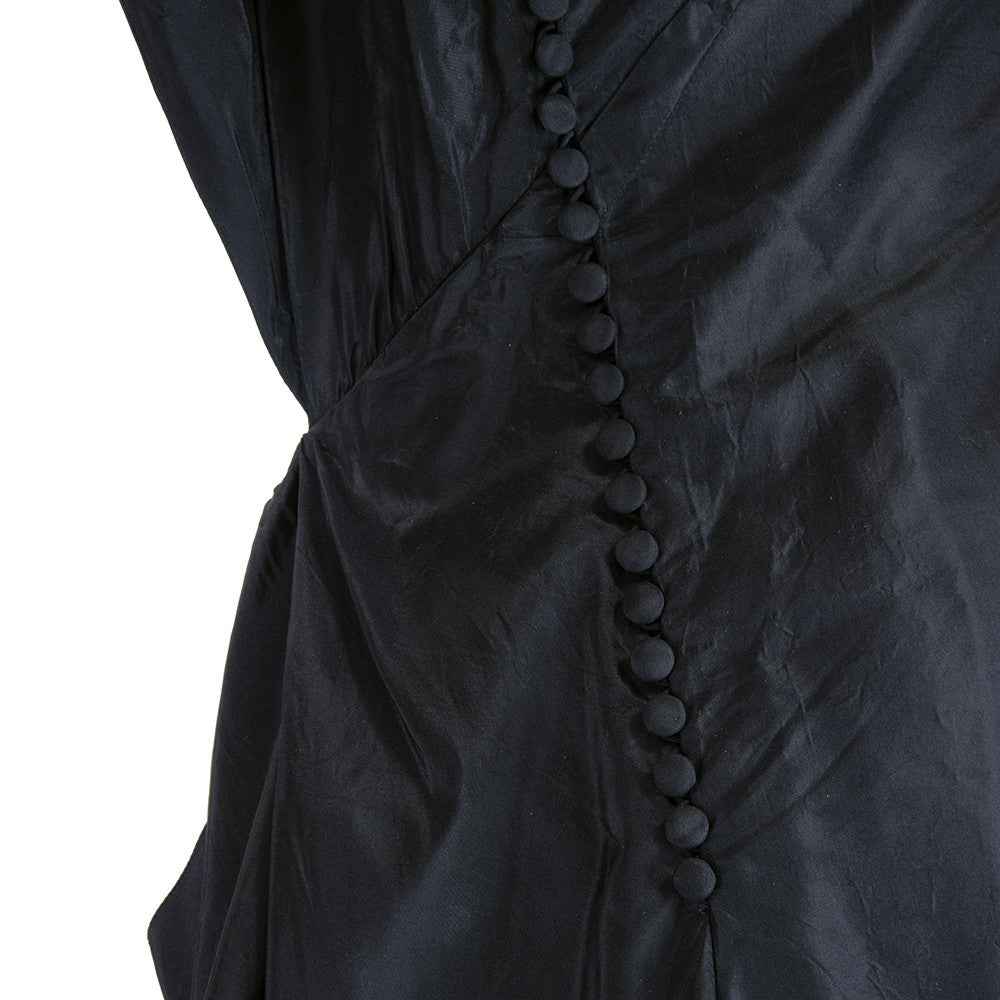 GALLIANO Black Silk Dramatic Gown, side buttons